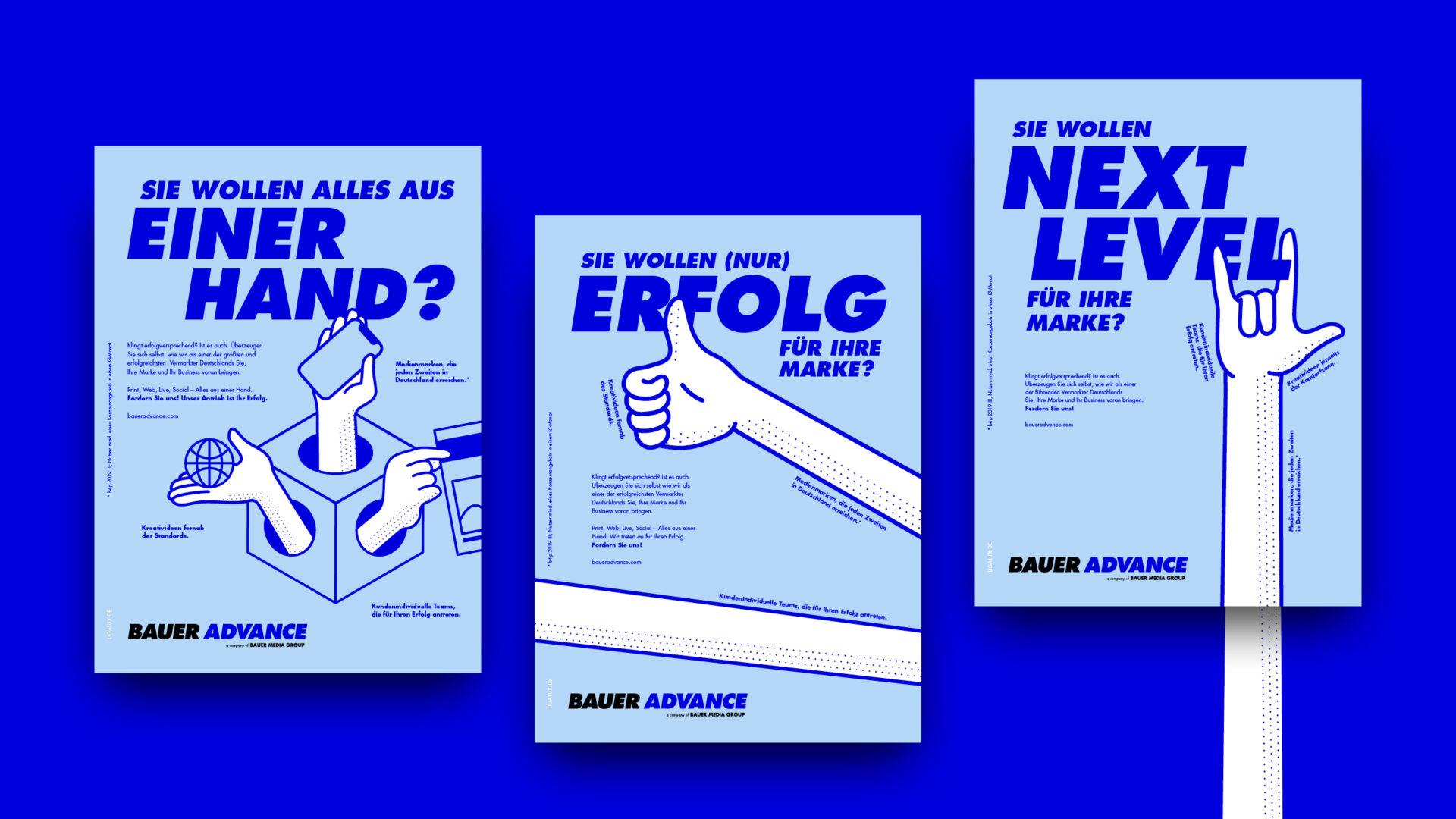 Übersicht mit drei hellblauen Anzeigen mit Ilustrationen von Händen