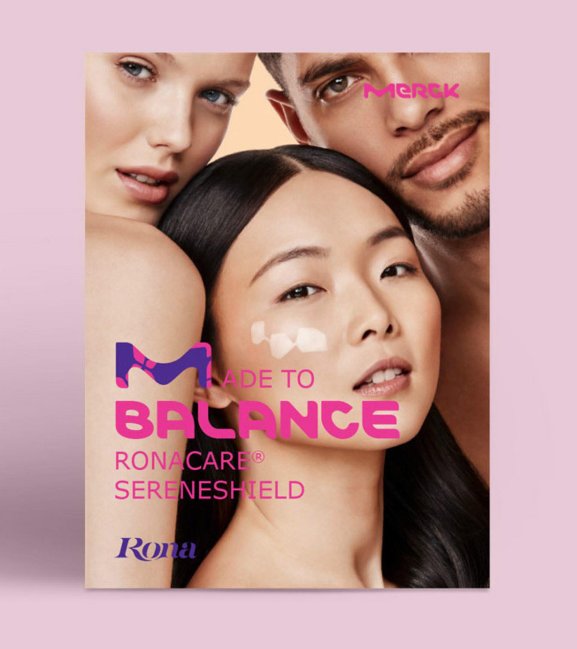 Broschürentitel mit Portrait von zwei Frauen und einem Mann mit weiß geschminkten Zellen im Gesicht und dem Titeltext Made to Balance