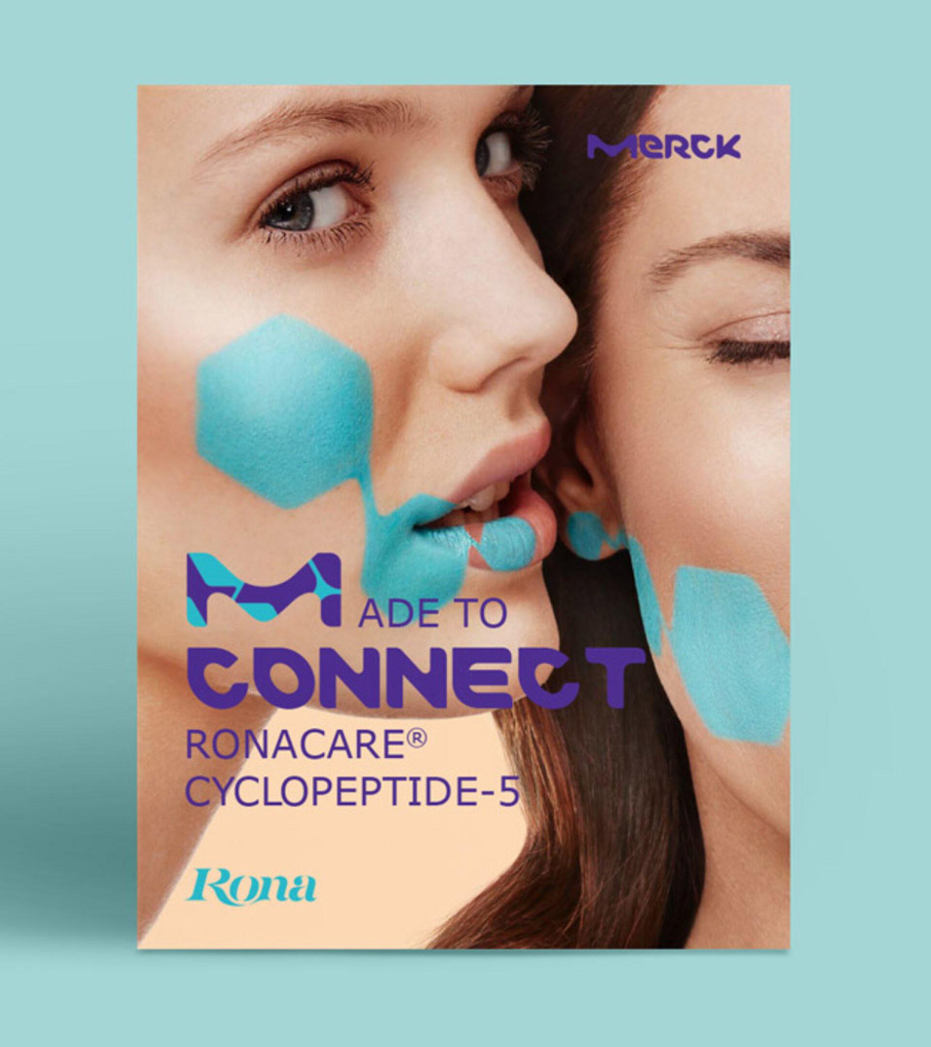 Broschürentitel mit Portrait von zwei Frauen mit türkis geschminkten Zellen im Gesicht und dem Titeltext Made to Connect