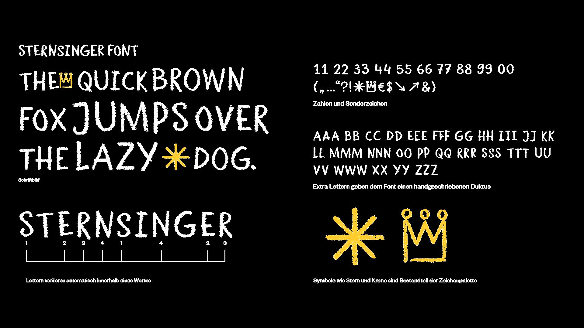Schriftmuster mit unterschiedlichen Buchstabentypen im uniquen Sternsinger Font, der an die Kreideschrift angelehnt ist