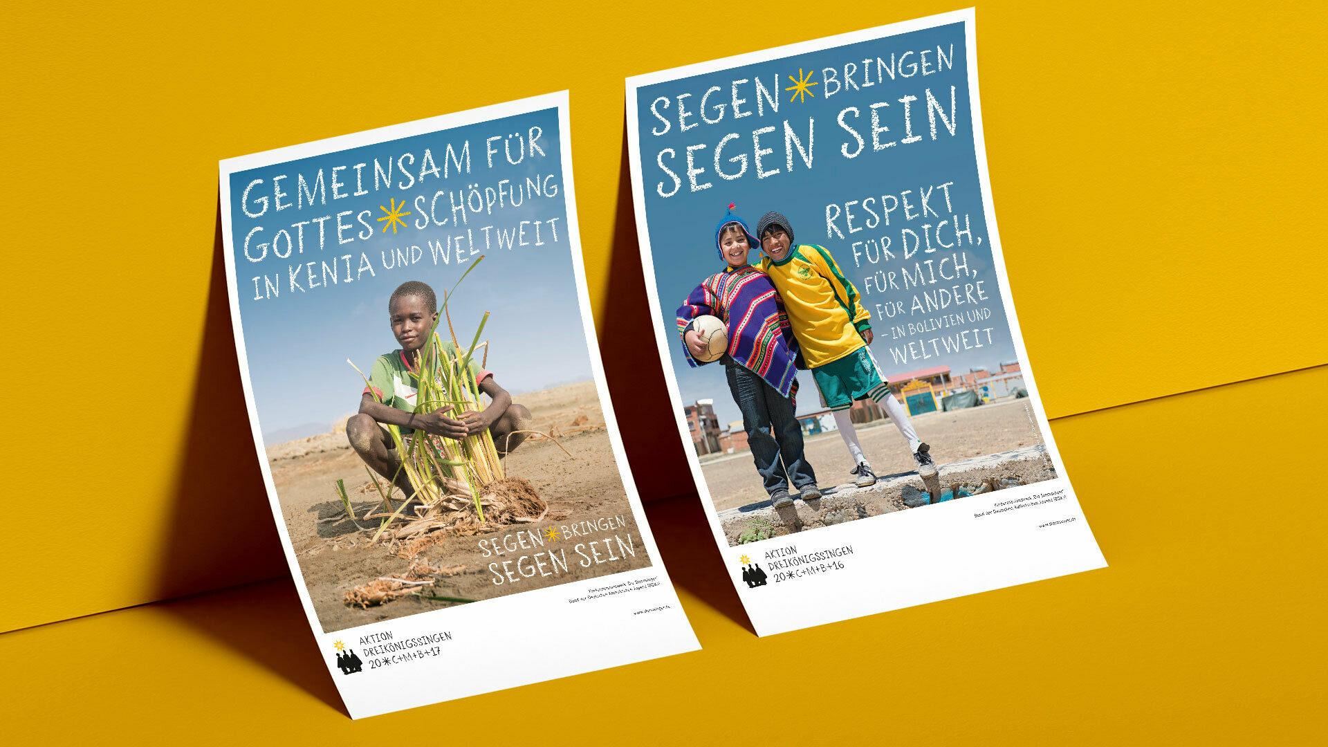 2 Sternsinger Plakate mit einem Jungen aus Kenia, sowie 2 Kindern aus Bolivien